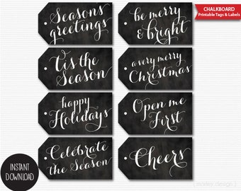 Chalkboard Christmas Tags Printable Holiday Gift Tags Digital Labels Instant Download Hang Tags