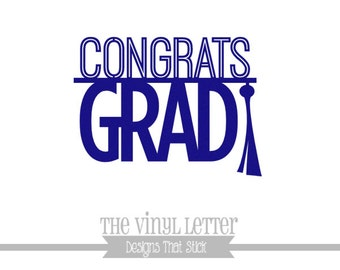 Congrats Grad Graduation Party Celebration Tassle Vinyl Wall Decor Decal Sticker