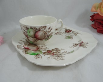 "1970s Johnson Bros England Staffordshire ""Harvest Time"" Snack Plate and Cup Set - 3 available"