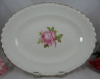 Vintage J&G Meakin Oval Pink Rose Serving Plate