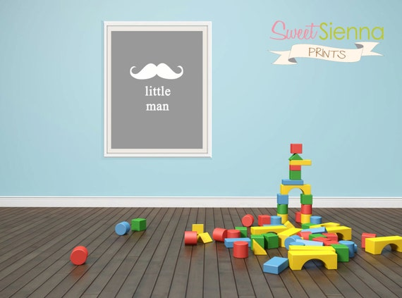 "Instant Download Gray ""little man"" Nursery decor, baby nursery art. Moustache Nursery Wall art, baby boy nursery printable 8x10"" PDF"