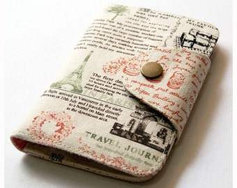 Travel Journal Wallet, Travel Wallet, Passport Wallet, Passport Cover, Womens Wallet, Credit Card Wallet