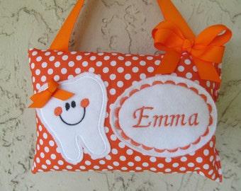 Tooth Fairy Pillow Orange Polka Dots