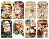 Christmas Download Vintage Santa and Children Download Set Of 8 Graphics