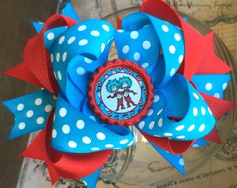 Free shipping ~~Dr. Seuss Thing 1 and Thing 2 Inspired Boutique Hairbow in red and blue