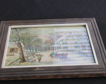 Vintage Wooden Framed Print Winter Scene Horse Carriage