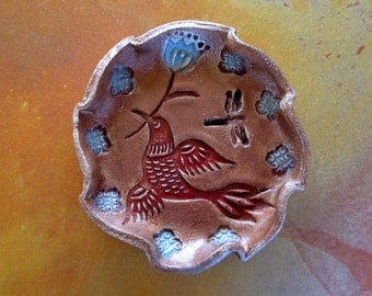 Stamped Ceramic Ring/Earring Dish with Red Bird, Flower and Dragonfly  in Gilders Paste, Rustic, Decorative, Trinkets, hiddenfirepottery