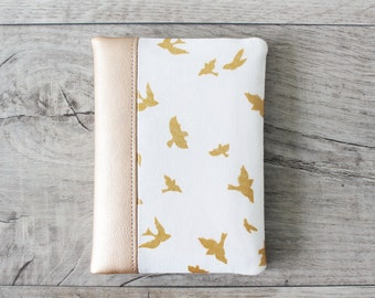 Passport Wallet, Travel Wallet, Travel Organizer, Passport Cover for 2 (Two), 3 (Three) or 4 (four) passports - Metallic Gold - Birds