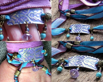 Hand Stamped - Hand Dyed Silk Ribbon Wrap Bracelet Turquoise Amethyst
