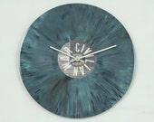 Upcycled Vinyl Record Disc, Wall Clock, Geekery, Spatter, Aqua, Handmade Clock, Clocks by DanO