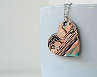 Industrial Heart Necklace, Heart Love, Cyber Necklace, Recycled Circuit Board Computer Jewelry