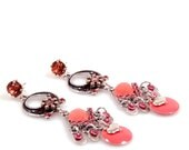 Dangle earrings in strawberry ice, coral pink with Swarovski and enamel pendant - handmade Ibiza style jewelry