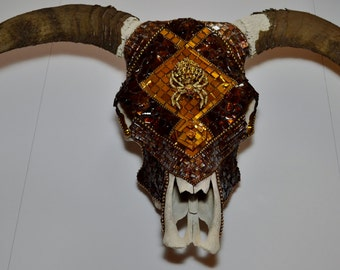 Bedazzled Mosaicked Hereford Bull Skull