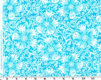 1 Yard 17 inches, White Floral on Blue Cotton