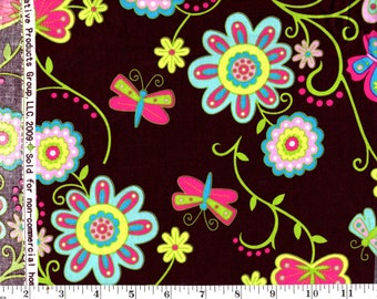 1 Yard, Butterflies and Flowers on Brown Creative Spring CP32925