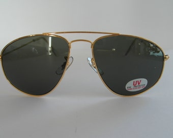 Vintage Yellow Gold Angular Aviator Sunglasses