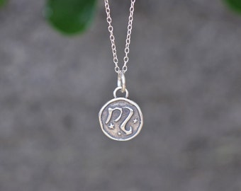 Scorpio  Astrology Zodiac Sign Pendant, Birthday gifts, Zodiac Jewelry,Sterling Silver Chain Included.