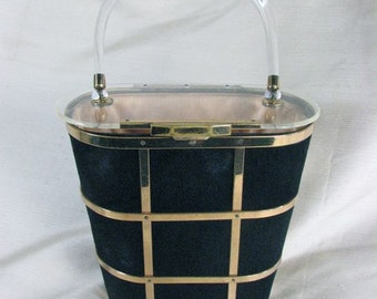 1950s Navy Velvet, Lucite, and Metal Basket Purse