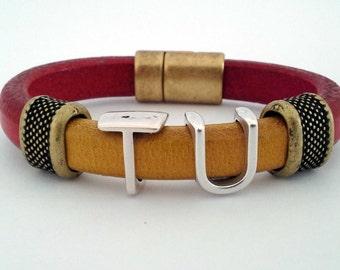 Tuskegee University - Leather Bracelet - Crimson Old Gold - Golden Tigers - SKEGEE - HBCU - Alumni - Grad - Student