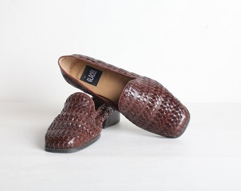 Women's Size 7 Brown Leather Woven Loafers