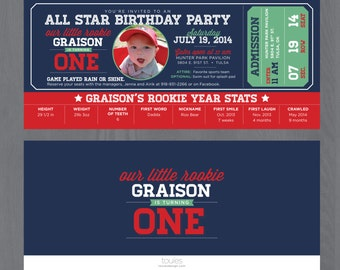 Rookie First Birthday Party Invitation