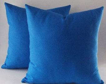 Set Of 2 / Blue Throw Pillow, Canvas Cotton Pillow Cover, Decorative Throw Pillow, Accent Pillow, All Size