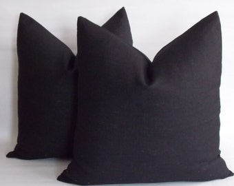 Set of 2 / Black Linen Pillow, Linen Pillow Cover, Decorative Pillow, Throw Pillow Linen 12,14,16,18,20,22,23,24,26,28,30