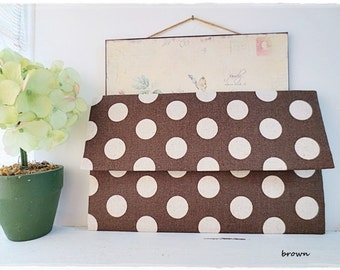Bridesmaids large envelope clutch big polkadot clutch brown polkadot clutch evening purse