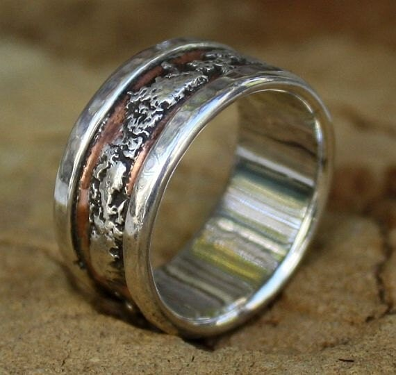 Mans Wedding Band Organic Rustic Artisan Copper Recycled Silver