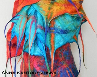 felted scarf shawl MY RAINBOW handmade, wool scarf, 100% natural, eco fashion by Kantorysinska
