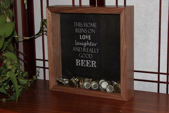 Walnut bottle cap shadow box home for Beer bottle picture frame