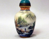Chinese Antique Snuff Bottle Beautiful Painted Enameled Glass nature Scenery