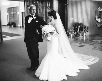 Cathedral Wedding Veil - Plain Veil - Cut-edge - One-tier - Ivory Veil - White Veil - Long Veil