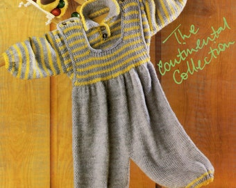 knitting pattern DK baby ssweater and dungareed . 16 /22 in