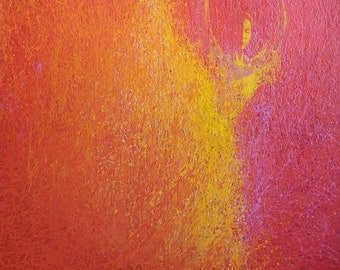 Gift for Her, Orange Canvas Art, Ballerina Print, Abstract dancer print of painting, Modern print in fuchsia dancing woman