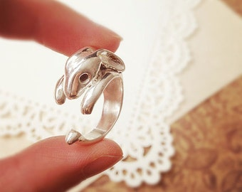 DARKWHISPER Couture Retro Exquisite Handmade 925 Silver Concise Adorable Easter Rabbit Ring