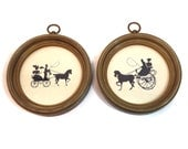 Vintage Silhouette Pictures Victorian Edwardian Horse Carriage snd Woman Black with Round Gold Frame Circular Wall Gallery Art Set of 2