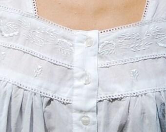 Organic Cotton Nightgown- White