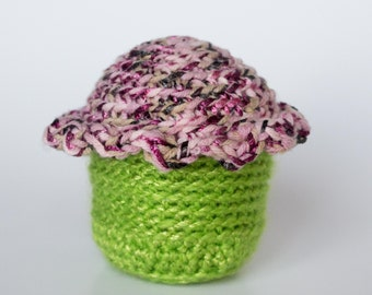 Crocheted Cupcake - Lime Green, Sparkle Pink Icing, Amigurumi Stuffed Food Cupcake - Perfect for Babies and Toddlers - Fun Stocking Stuffer