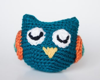 Crocheted Owl - Cute Little Blue Turquoise, Amigurumi Stuffed Animal, Woodland Owl - Perfect for Babies and Toddlers - Fun Stocking Stuffer