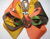 Girl's Thanksgiving Fall Turkey Gobbler Ribbon Sculpture Clippie Triple Loop Twisted Boutique Large Bow in Gold, Paprika Orange and Brown