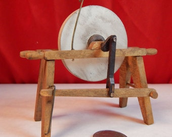 Dollhouse Grinding Stone Hand Powered - Artist Created & Signed  - Doll House Antique Miniature Sharpener