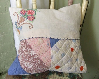 Pillow cover,  Re-purposed Vintage Linen and Quilt fabric