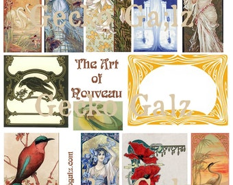 The Art Of Nouveau Digital Collage Sheet