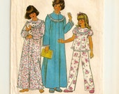 """A Long Sleeve, Long Nightgown, Button Front Robe & 2-Piece Pajamas Pattern: Uncut - Girls Size L (12-14) Breast 30"""" - 32"""" • Simplicity 8127"""