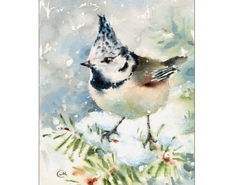 Watercolor Tit Bird - Original Painting 5 x 7 inches Holidays Winter Christmas