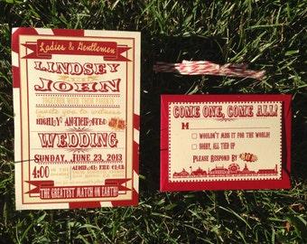 Vintage Carnival Wedding Invitation and RSVP Set of 10