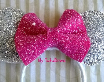 MINNIE MOUSE EARS Headband White Silver Sparkle Glitter Big Hot Pink Bow Fits Adults and Children