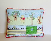 Winnie the Pooh Tooth Fairy Pillow, Pooh Bear Pillow, Personalized Pillow , Polka Dot Piping Nursery Pillow