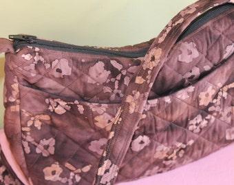 Brown and tan cotton batik handbag